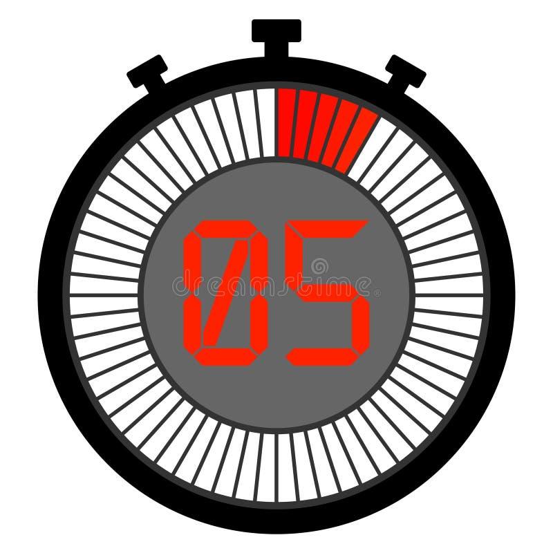 chronomètre électronique avec un cadran de gradient du rouge 5 secondes illustration stock