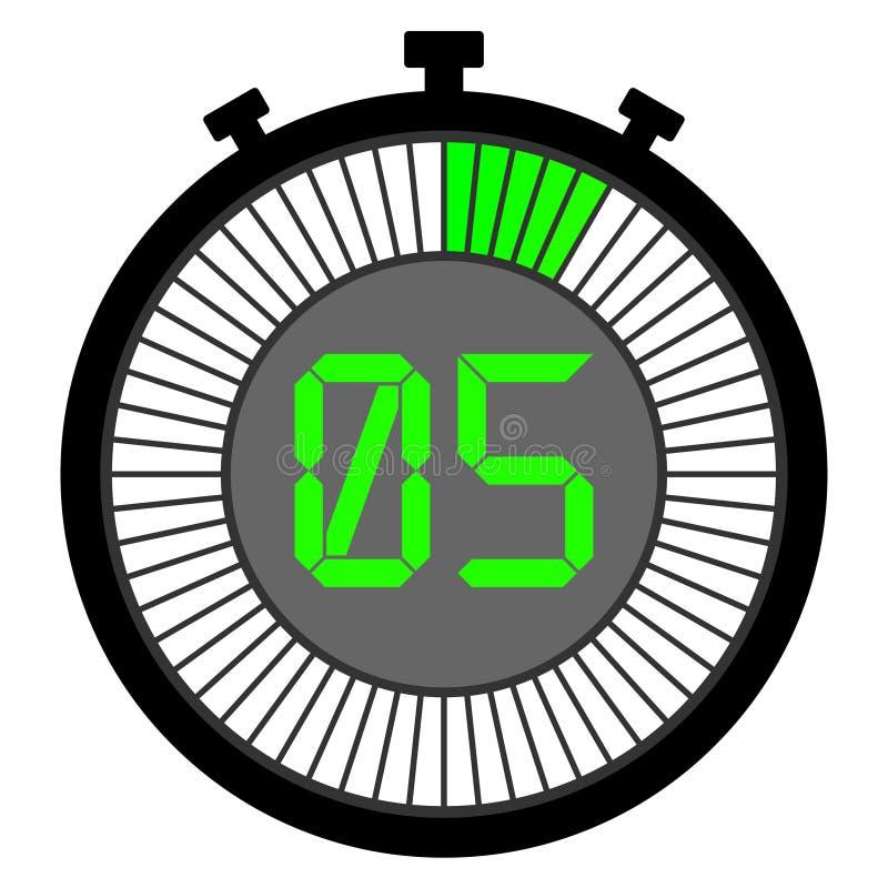 chronomètre électronique avec un cadran de gradient de vert 5 secondes illustration de vecteur