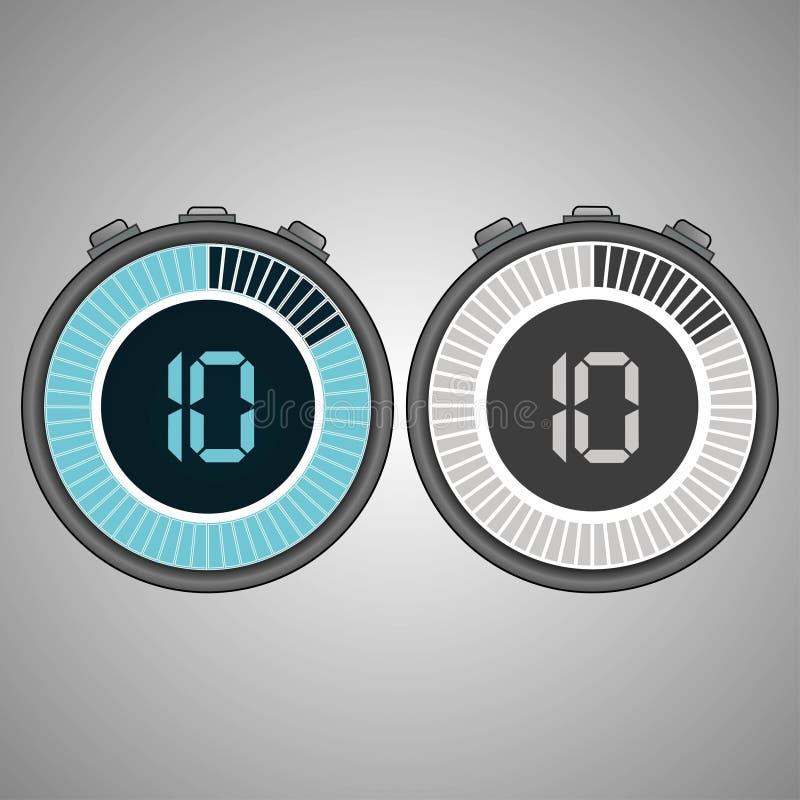 Chronomètre électronique de Digital 10 secondes illustration libre de droits
