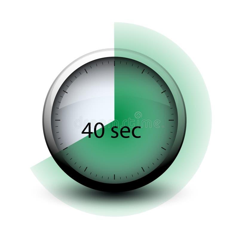 Chronomètre avec du temps de expiration icône de Web de 40 secondes illustration libre de droits