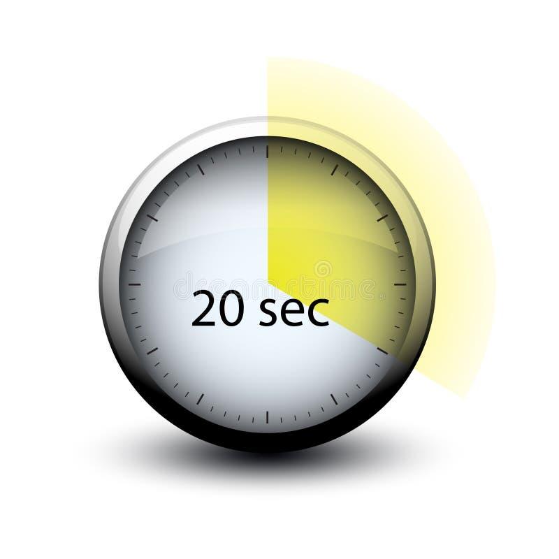Chronomètre avec du temps de expiration icône de Web de 20 secondes illustration stock
