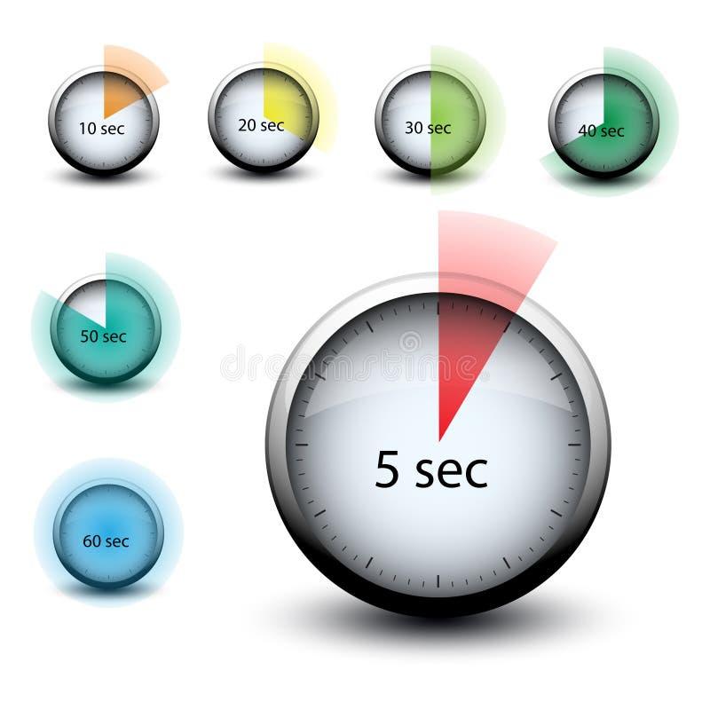Chronomètre avec l'icône de expiration de Web de secondes du temps n illustration de vecteur