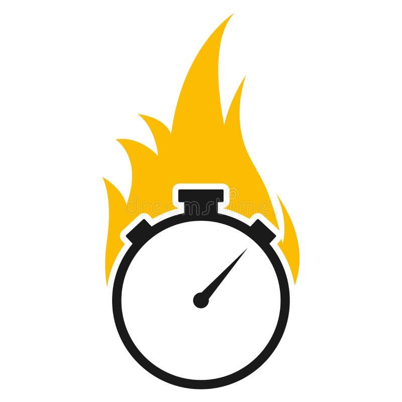 Chronomètre avec l'icône de vecteur de flamme du feu illustration libre de droits