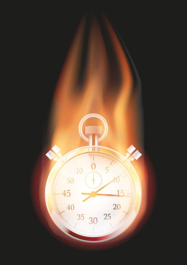 Chronomètre avec la flamme illustration libre de droits