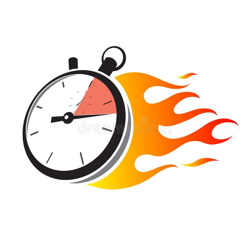 Chronomètre avec la flamme du feu illustration stock