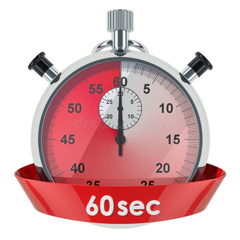 Chronomètre avec la minuterie de 60 secondes rendu 3D d'isolement sur le fond blanc illustration libre de droits