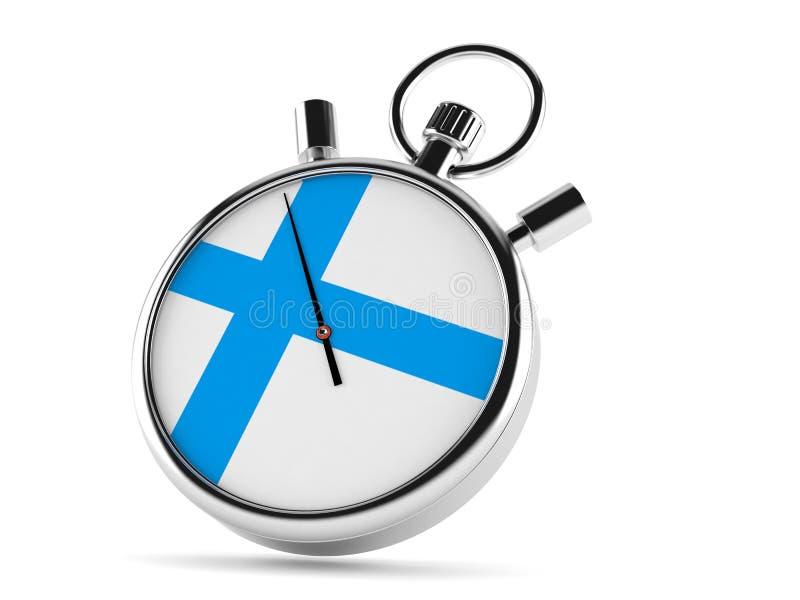 Chronomètre avec le drapeau finlandais illustration stock