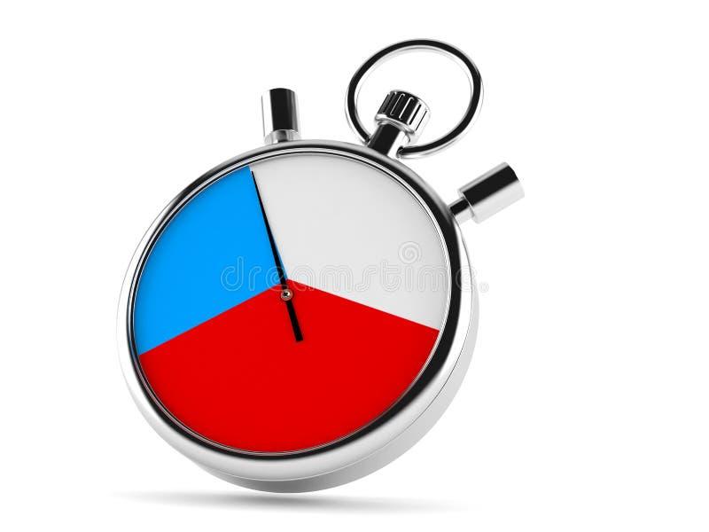 Chronomètre avec le drapeau tchèque illustration stock