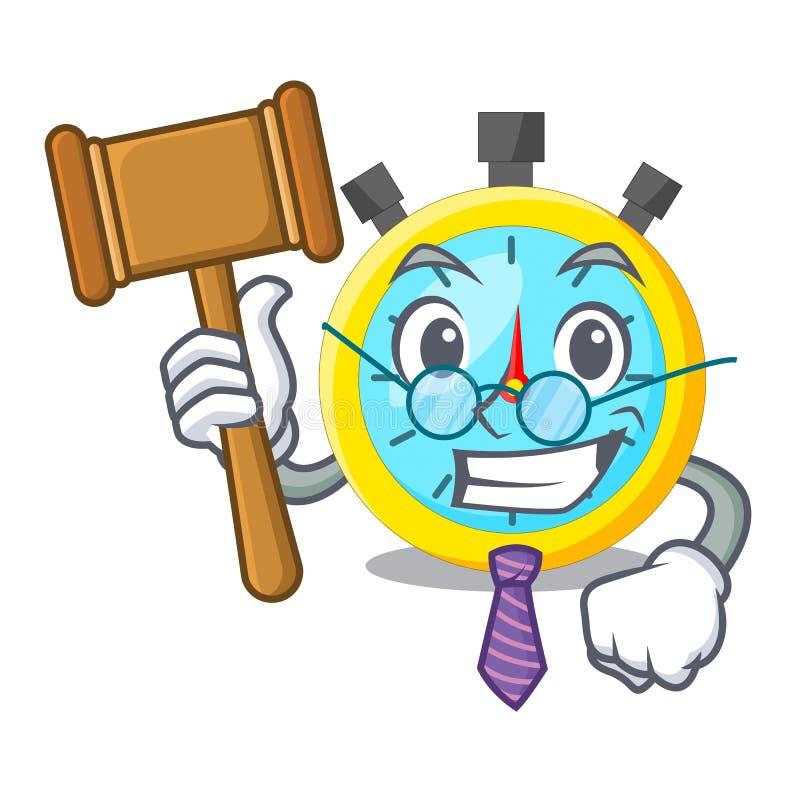Chronomètre de bande dessinée de juge dessus pour la course illustration libre de droits