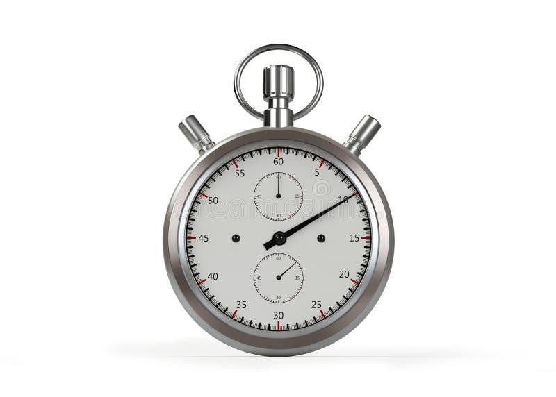 chronomètre de 3d Siver d'isolement sur le blanc avec le chemin de coupure illustration libre de droits