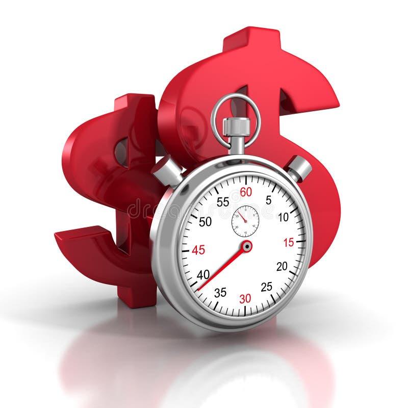 Chronomètre de temps avec de grands symboles rouges du dollar illustration stock
