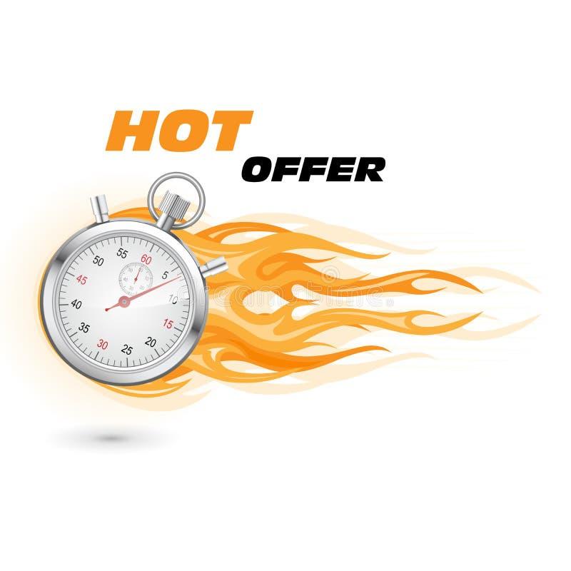Chronomètre en flamme - spéciale, offre de temps chaud et limité illustration stock