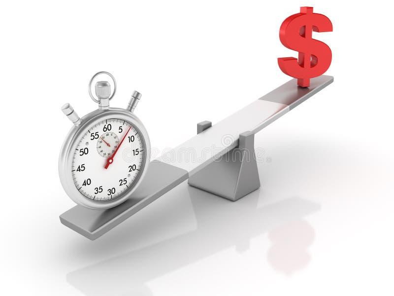Chronomètre et symbole dollar équilibrant sur une bascule illustration stock