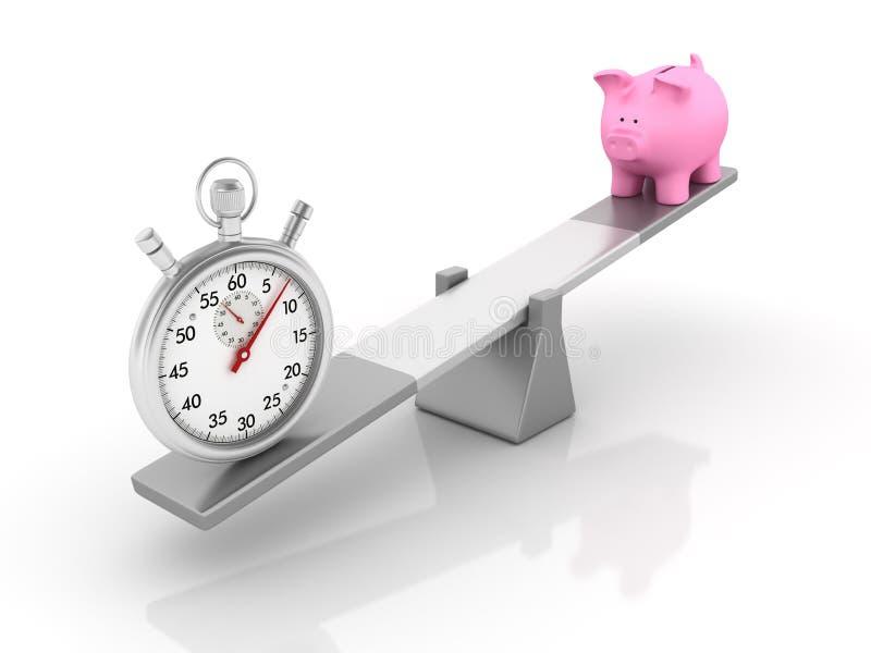 Chronomètre et tirelire équilibrant sur une bascule illustration libre de droits