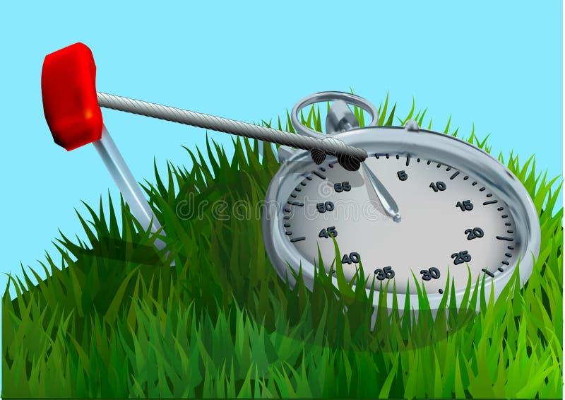 Chronomètre sur l'herbe illustration de vecteur