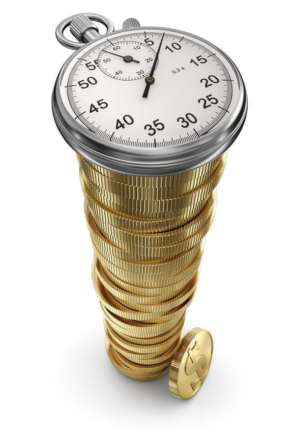 Chronomètre sur la pile de pièce de monnaie illustration libre de droits