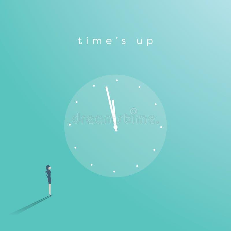 Chronométrez le ` s vers le haut du concept de vecteur de mouvement avec la femme d'affaires regardant fixement l'horloge Symbole illustration de vecteur