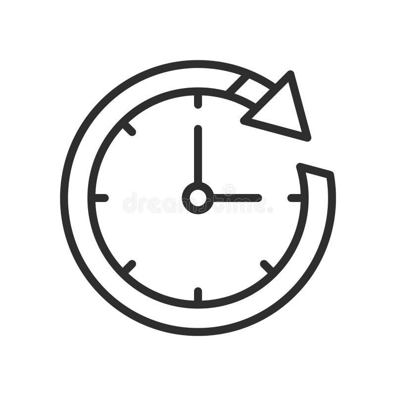 Chronométrez le signe et le symbole de vecteur d'icône de métaphore d'isolement sur le dos de blanc illustration de vecteur