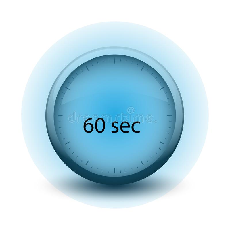 Chronometer die met tijd het pictogram van het 60 secondenweb verlopen vector illustratie