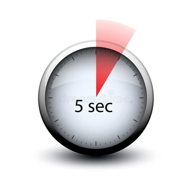 Chronometer die met tijd het pictogram van het 5 secondenweb verlopen royalty-vrije illustratie