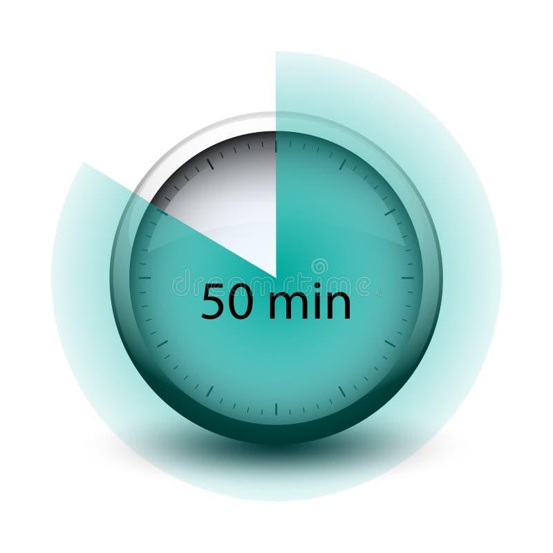 Chronometer die met tijd 50 minuten Webpictogram verlopen stock illustratie