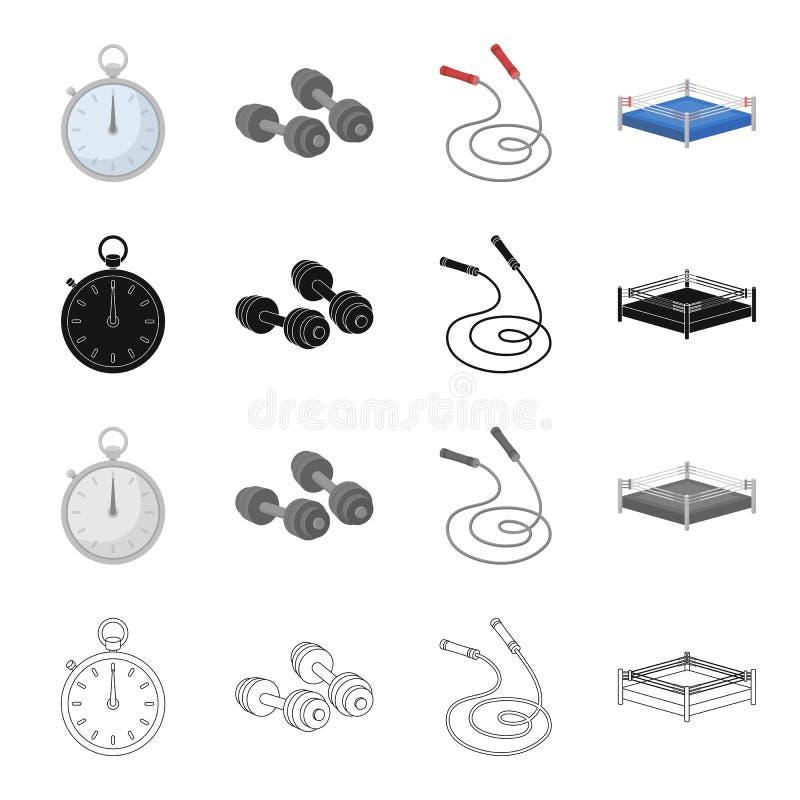 Chronometer, domoren en een touwtjespringen voor opleiding, boksring Het in dozen doen van vastgestelde inzamelingspictogrammen i stock illustratie
