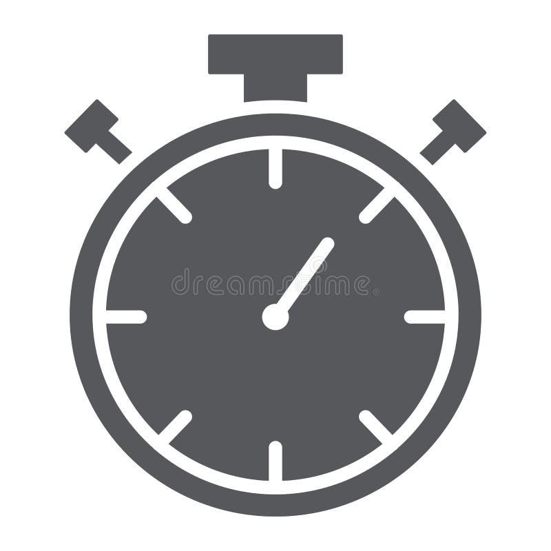 Chronometer glyph pictogram, maatregel en aftelprocedure, tijdopnemerteken, vectorafbeeldingen, een stevig patroon op een witte a stock illustratie