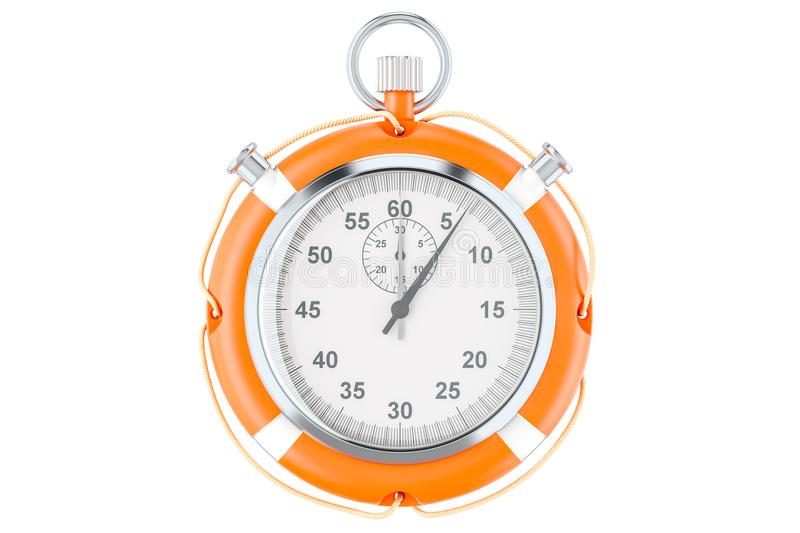 Chronometer and lifebuoy, save time concept. 3D rendering stock illustration