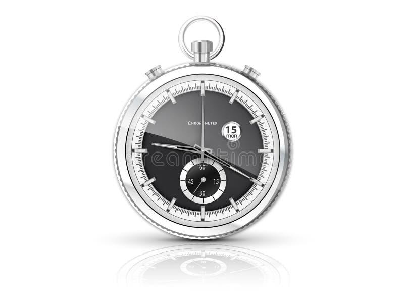 Chronometer met witte wijzerplaat stock illustratie
