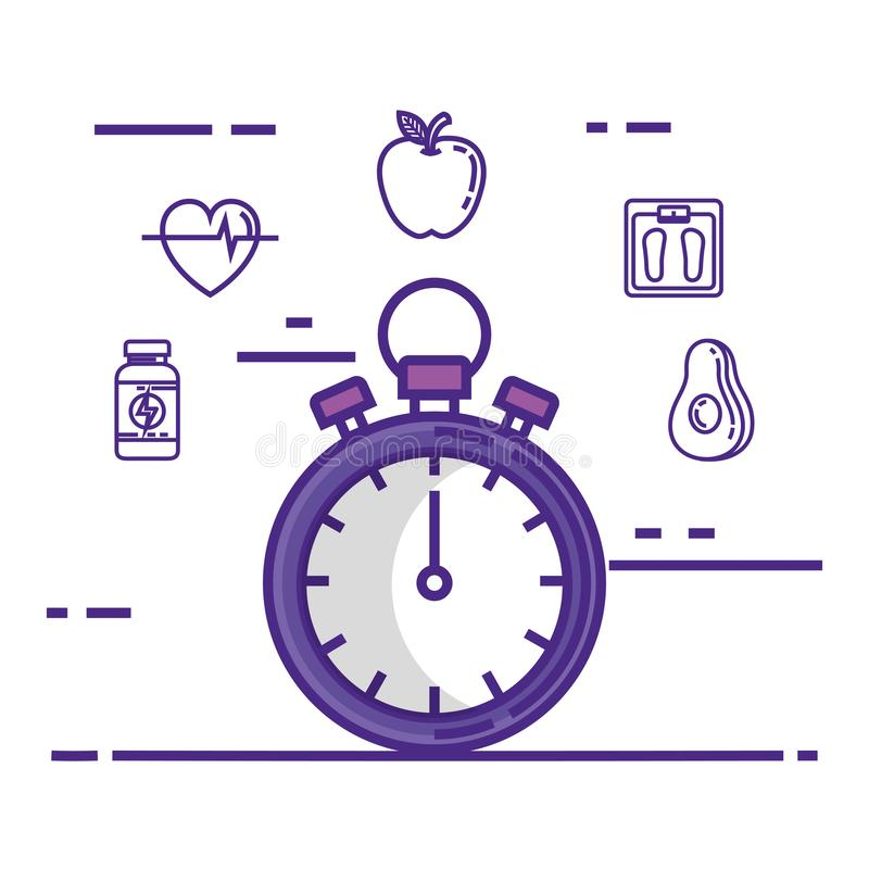 Chronometer mit gesetzten Ikonen des Eignungslebensstils lizenzfreie abbildung