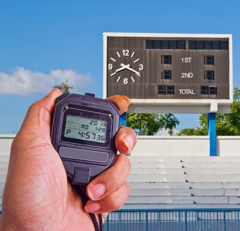 Chronometer op atletiekgebied stock foto's