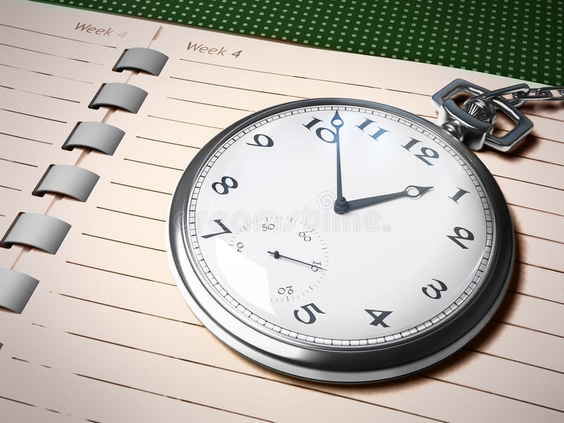 Chronometer Over Notebook Royalty Free Stock Photo