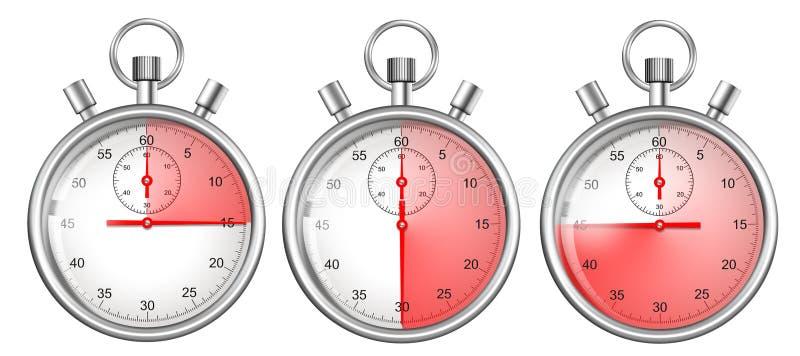 Chronometers geplaatst die met rode tijdspannes worden geïsoleerde vector illustratie