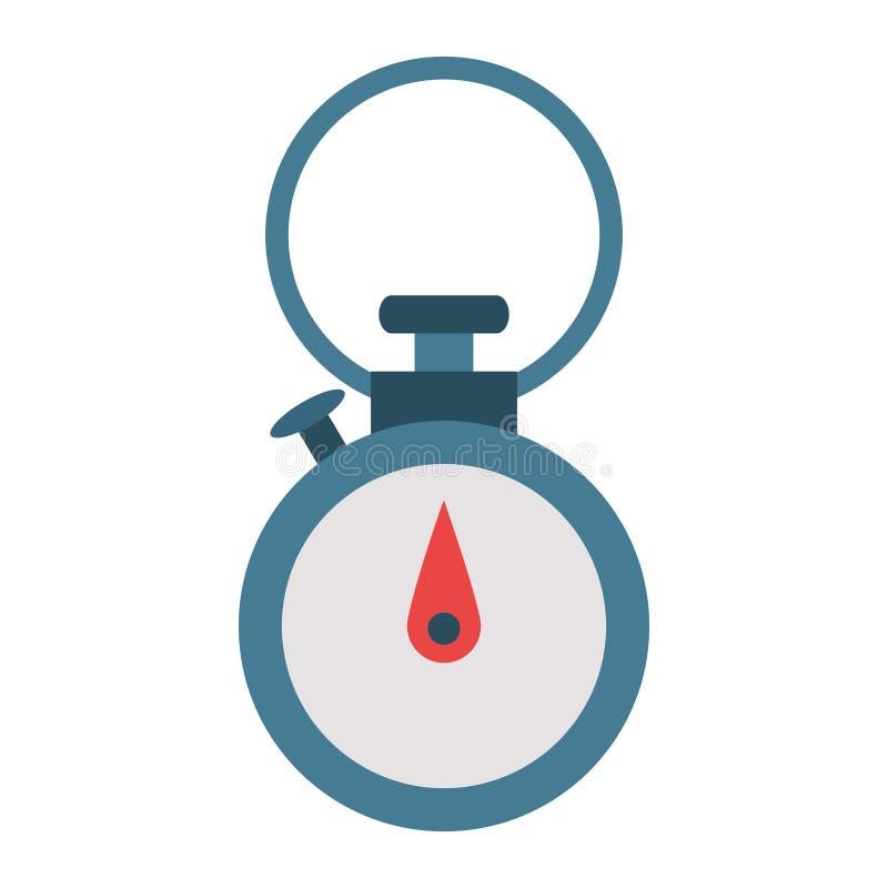 Chronometertimer-Uhr mit Knopf lokalisiertem Symbol vektor abbildung