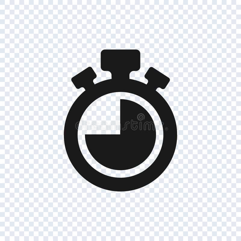 Chronometervektorikone auf transparentem Hintergrund Stoppuhrvektorikone stock abbildung