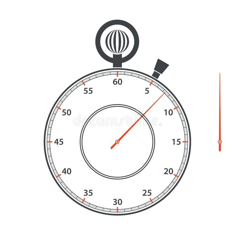 Chronometerwijzerplaat en pijl op witte achtergrond Vector illustratie stock illustratie