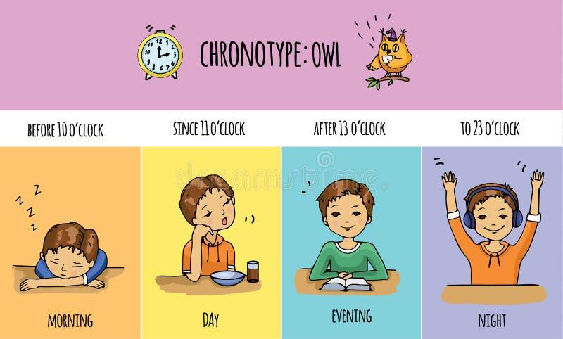 Chronotype von Leuten - Eule stockfoto
