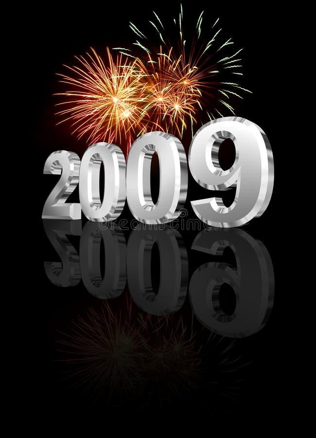 Chroom 2009 vuurwerk royalty-vrije stock afbeeldingen