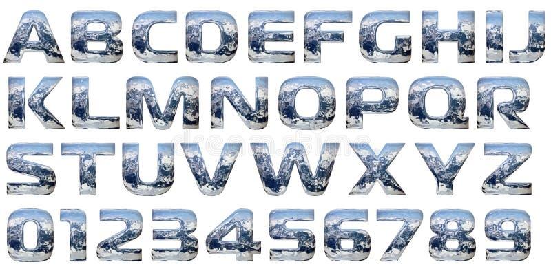 Chroom gegoten alfabetreeks royalty-vrije illustratie