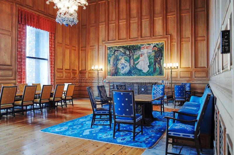 Chrupie pokój, Oslo urząd miasta, NORWEGIA zdjęcia royalty free
