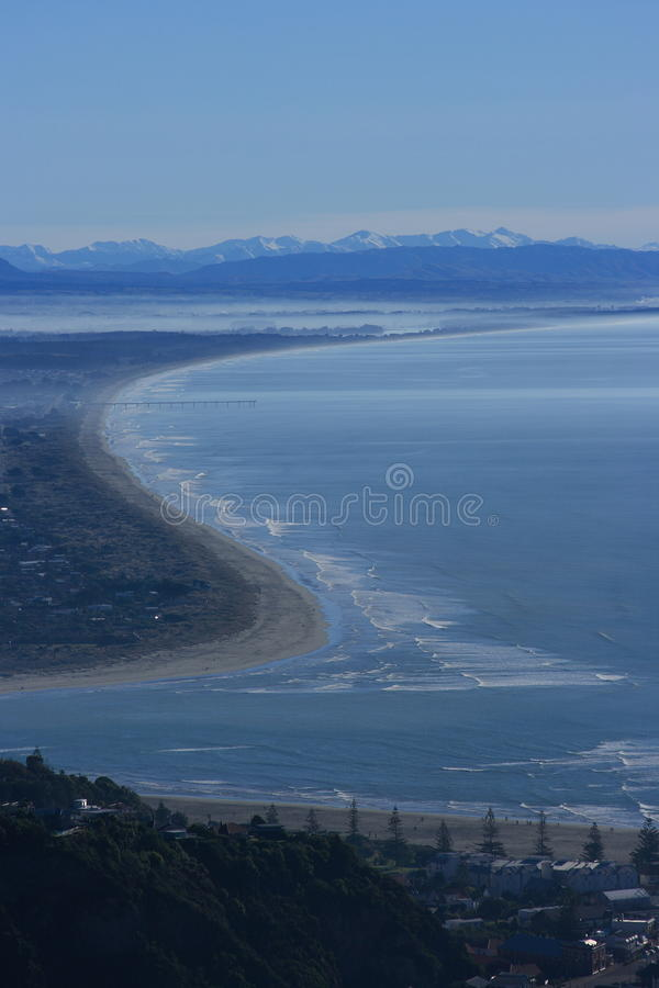 Download Chrustchurch Coastline stock photo. Image of wharf, mountains - 14997346