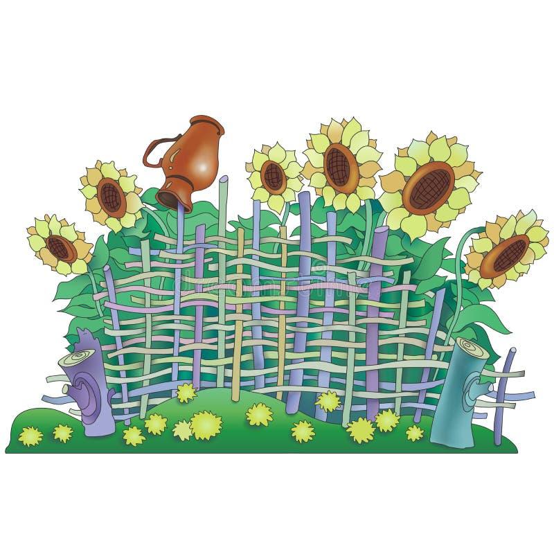 Chrustowy ogrodzenie z słonecznikami i dzbankiem ilustracji