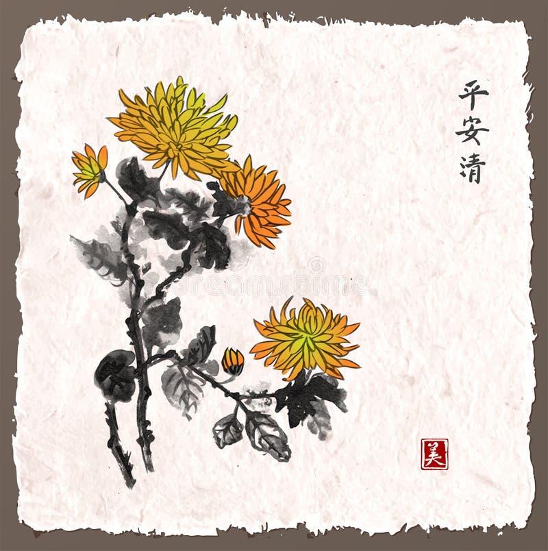 Chrysantenbloemen op uitstekende achtergrond Traditionele oosterse inkt die sumi-e, u-zonde, gaan-hua schilderen stock illustratie