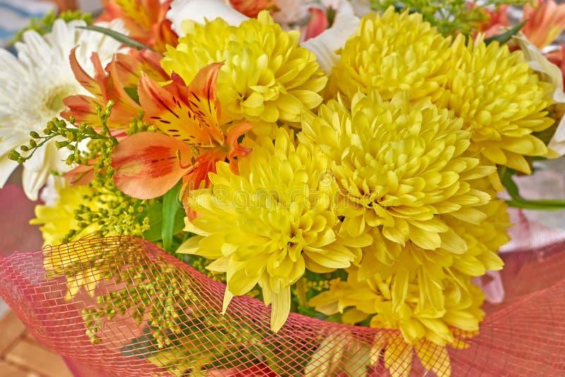Chrysanthèmes jaunes et freesias oranges images libres de droits