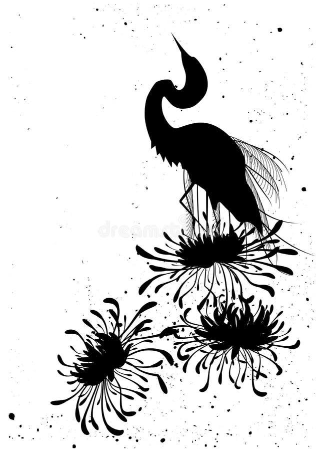 Chrysantheme und Reiher stock abbildung
