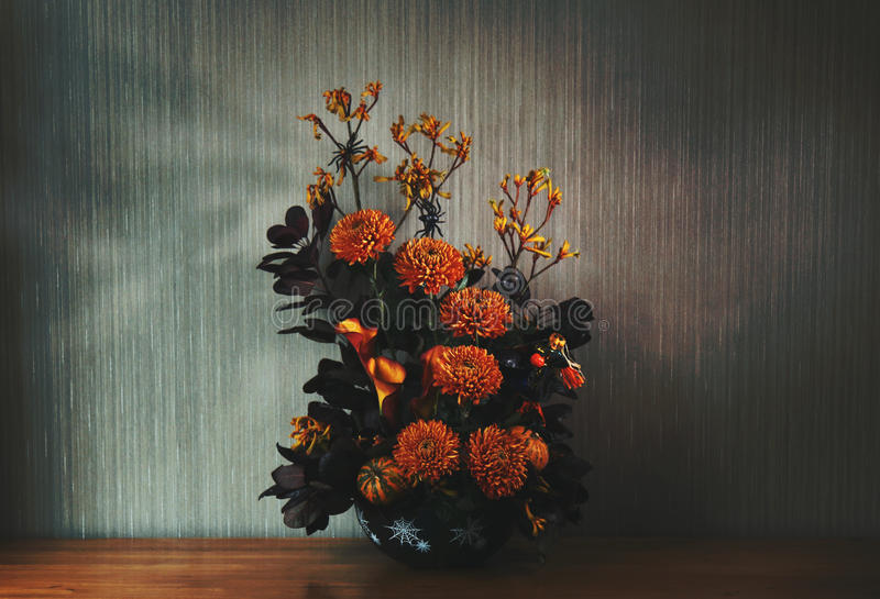 Chrysanthemen, Calla-Lilie und Känguru-Fuß-Blumen stockfoto