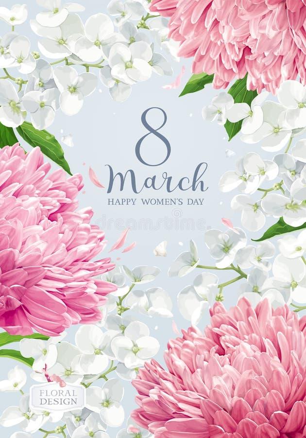 Chrysanthemen und Apple blühen für Vektorgrußauto den 8. März stock abbildung