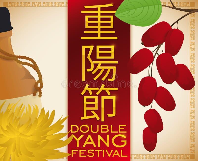 Chrysanthemum Flower, Liquor and Dogwood for Double Yang Festival, Vector Illustration. Poster with chrysanthemum flower and liquor, dogwood with cherries -or stock illustration