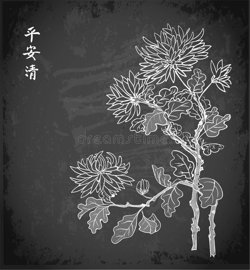 Chrysanthemum flowers in oriental style on blackboard background. Contains hieroglyphs - zen, freedom, nature stock illustration