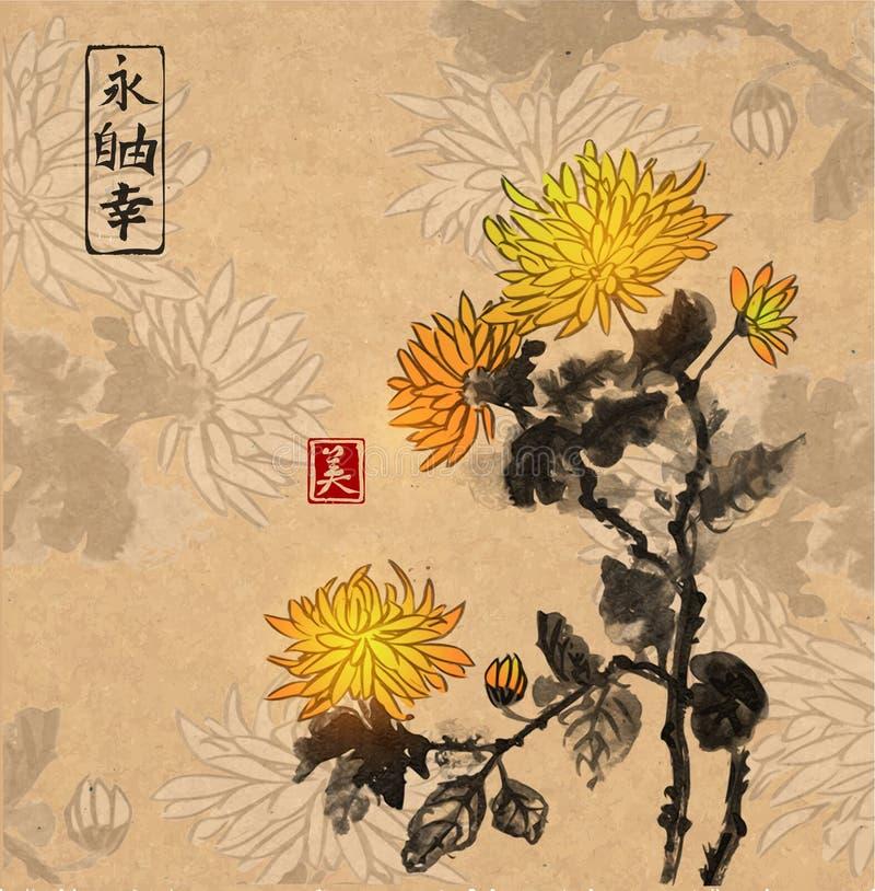Chrysanthemum flowers on vintage background. vector illustration